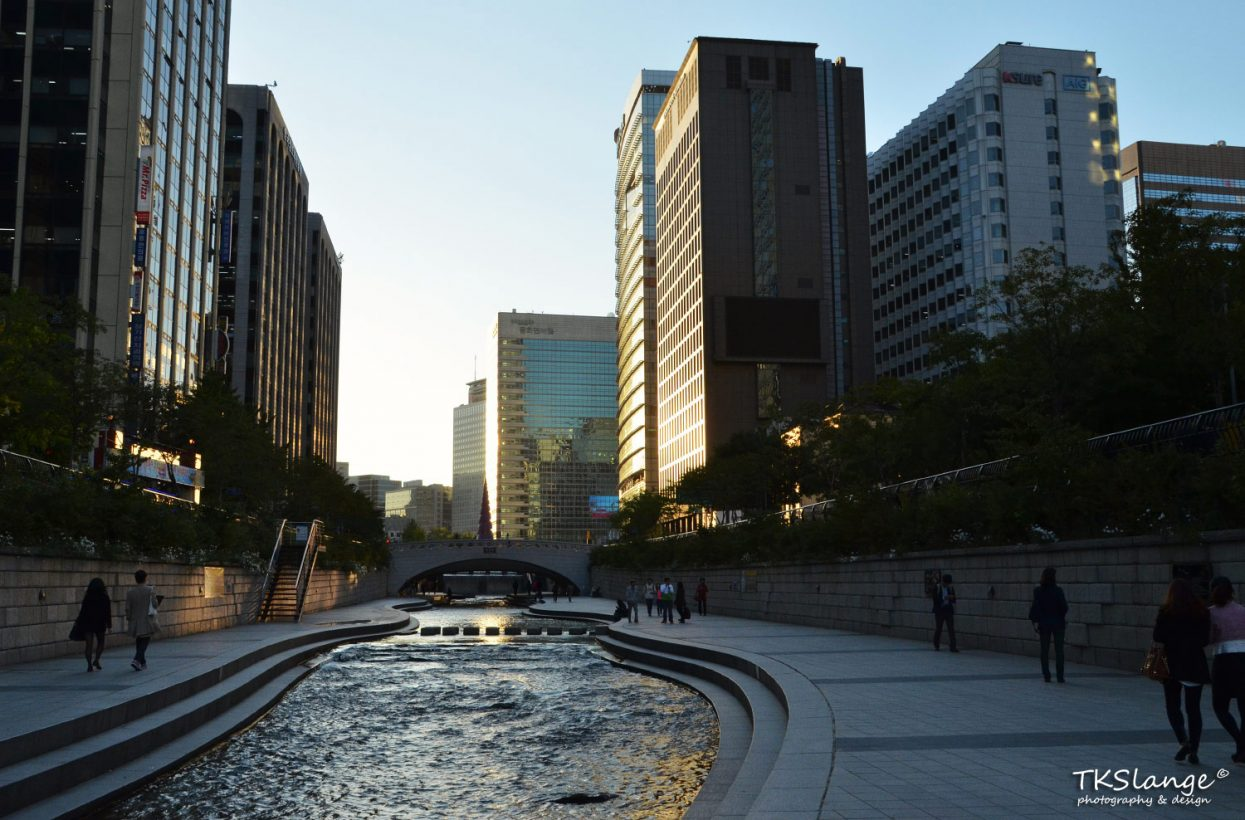 The Cheonggye Stream runs through the tall buildings of the centre of Seoul.