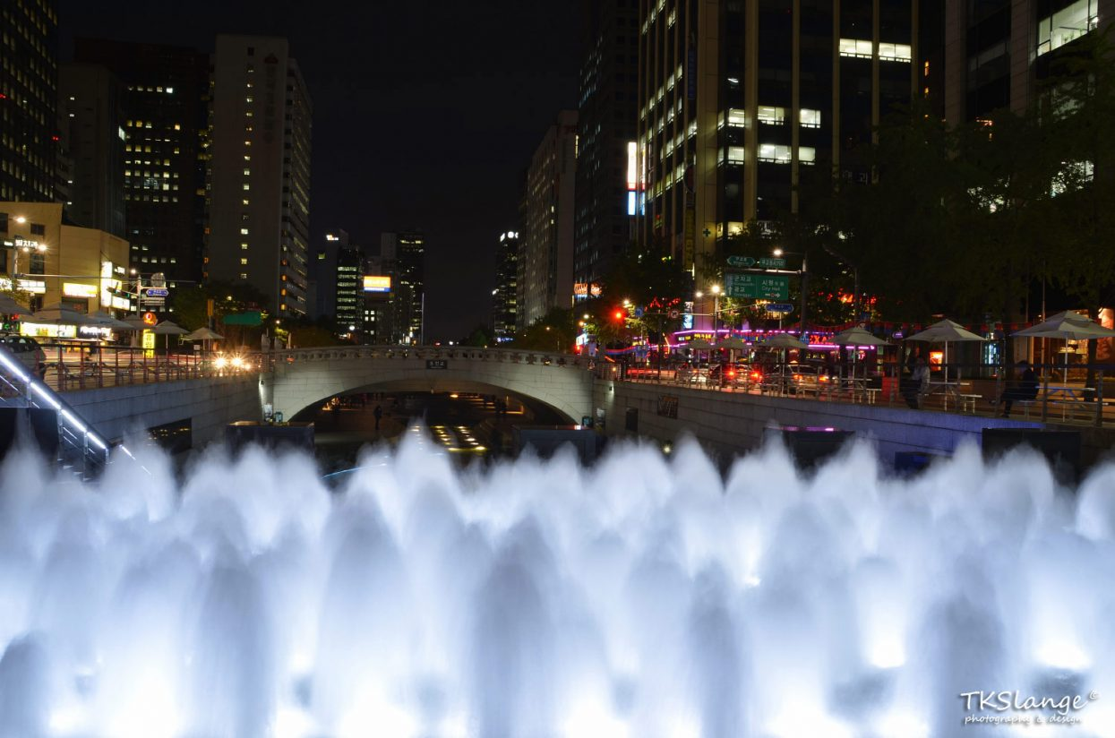 Fountains at Cheonggye Stream.