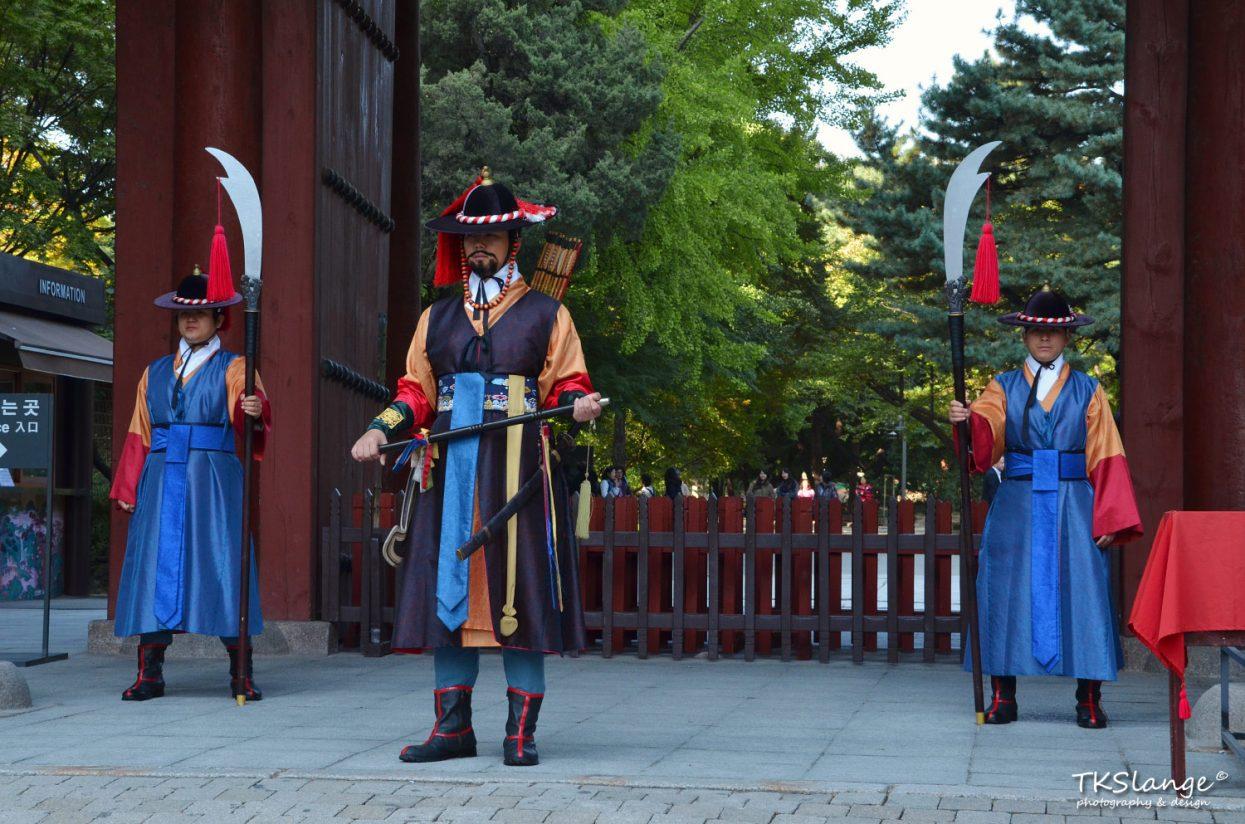 Royal Guards at the entrance gate of Deoksugung Palace.