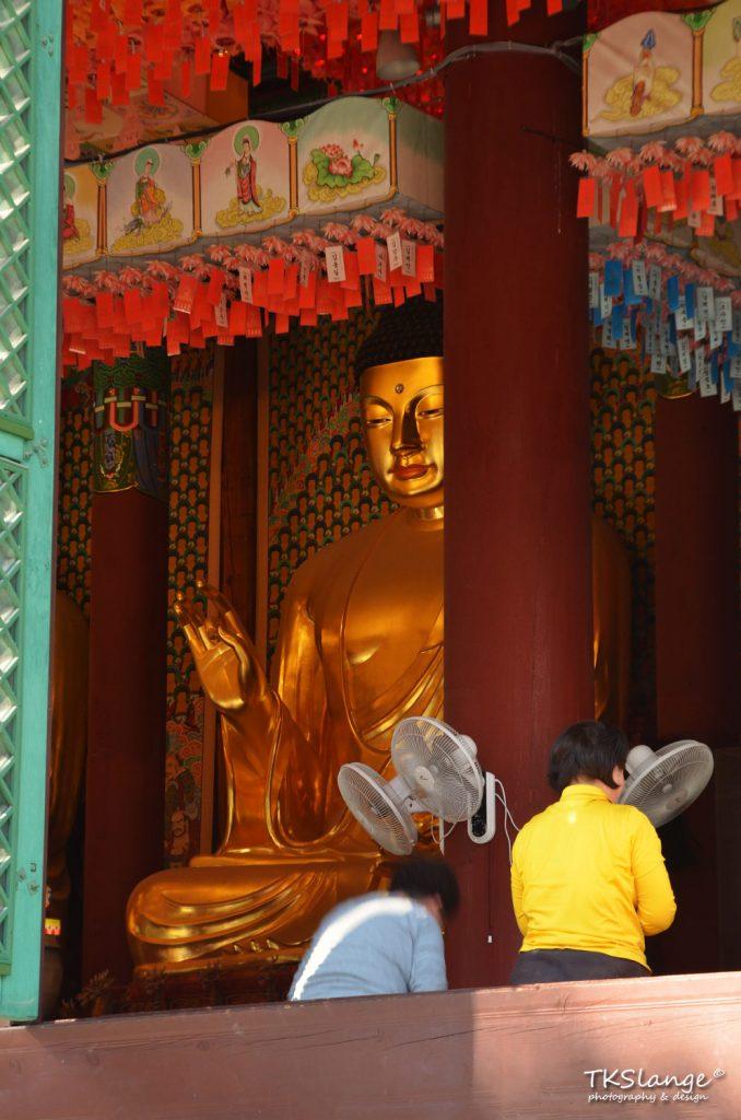 A large golden Buddha sits inside Daeungjeon.