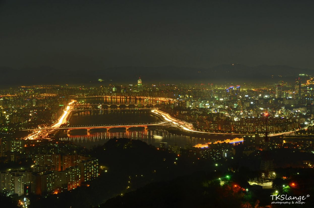 The view over the Han River from the observatory deck up in the Seoul N Tower.