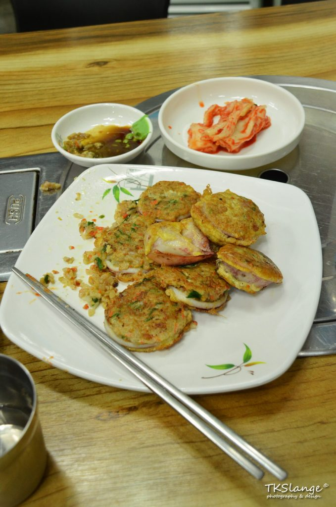 Ojing-eo sundae, stuffed squid, a local delicacy.