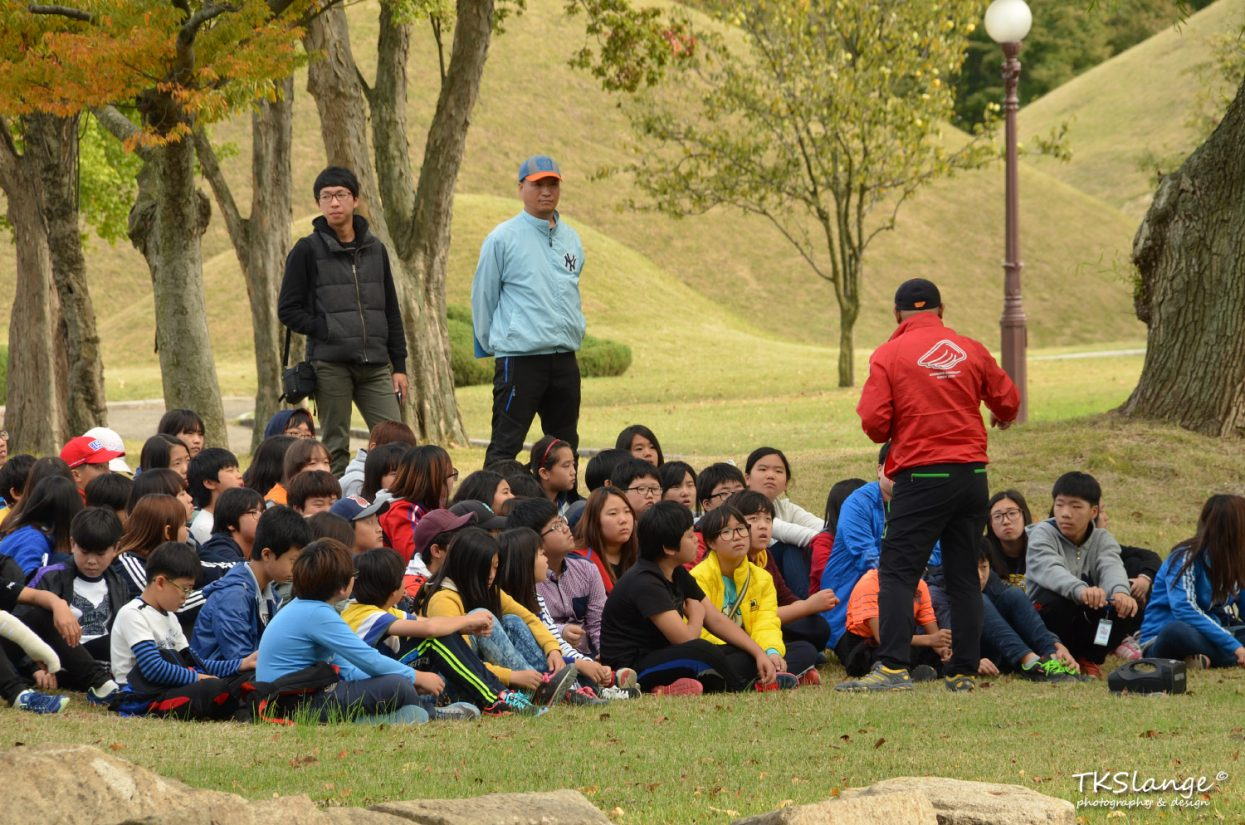 Children are being educated about the Silla tombs in the Tumuli Park.